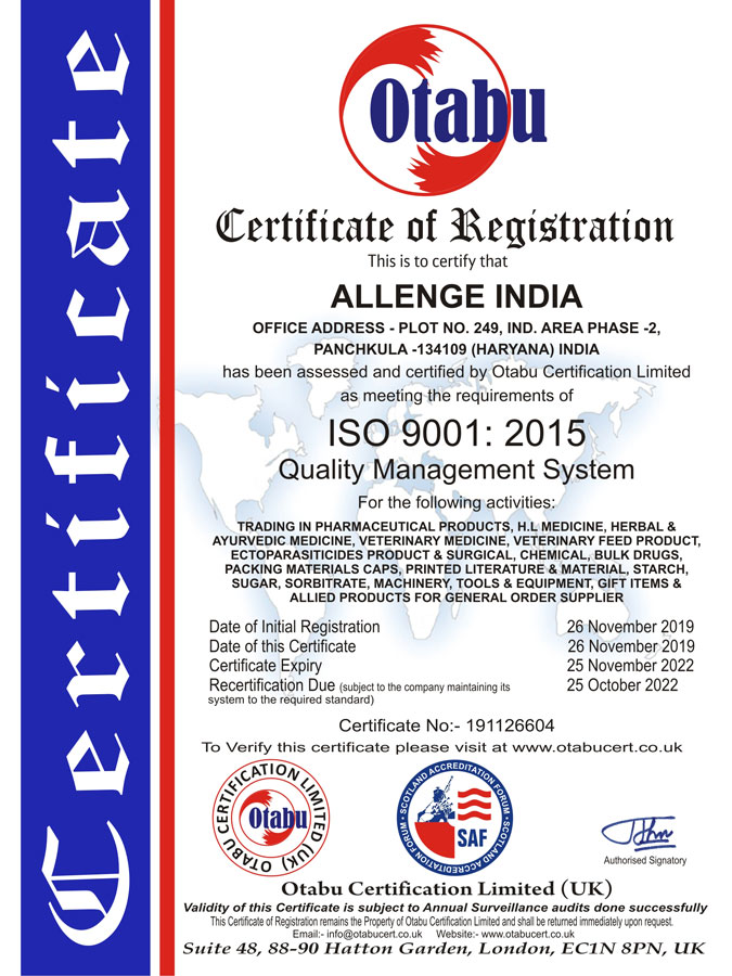 Allenge India Pharmaceutical ISO 9001 : 2015 Certificate